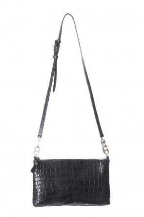 cornelian taurus Classic 1 Tone Punch Shoulder - Crocodile Leather Black