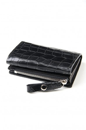 cornelian taurus 20SS connect wallet mini crocodile Black