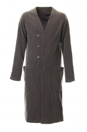 DEVOA 18-19AW Coat Wool / Cotton Raschel Knit Brown Gray