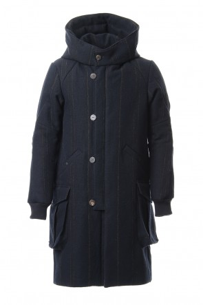DEVOA 19-20AW Shetland Wool Linen Stripe Batting Hood Coat Navy Black