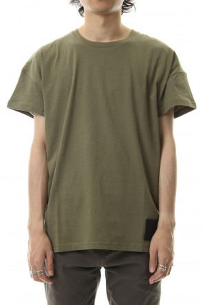 DIET BUTCHER SLIM SKIN 19-20AW  Drop shoulder leather patch T-shirt Khaki Green