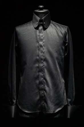 """QL Mansion Maker16SS16SS TAILORED LINE """"Round Collar"""" SHIRTS (Pin Hole) BLACK"""