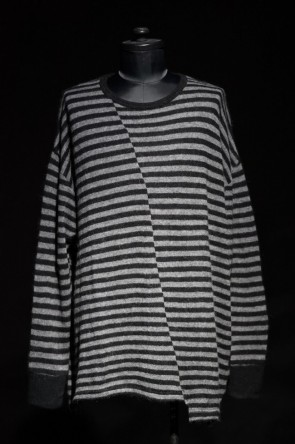 DIET BUTCHER SLIM SKIN 16W 16W Striped asymmetry loose pullover  BLACK × CHARCOAL GRAY
