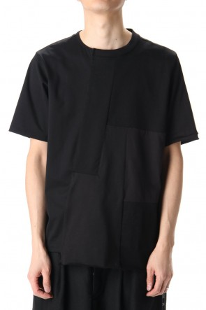 DUELLUM 20-21AW Patchwork Back Seamed T-Shirts Black