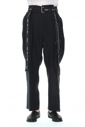 DUELLUM 21SS Stripe Paneled Belt Pants