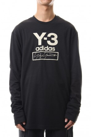 Y-3 19-20AW Stacked Logo Long Sleeve Tee Black