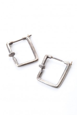 Guidi 20SS Squared Nails Silver Earring