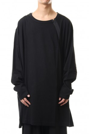 Ground Y 20SS Diagonal zipper L/S cut sew Black