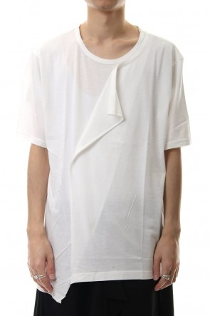 Ground Y 20SS Deformed Drape Short Cut Sew White