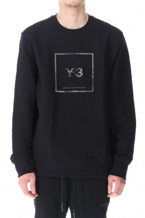 Y-3 21SS Square label Graphic Crew Sweatshirt Black