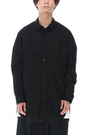 Yohji Yamamoto 21SS Patch Chest Chain stitch Broad shirt Black