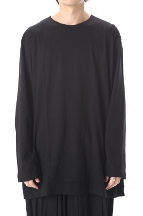 Yohji Yamamoto 20SS Old cotton Top stitch Cut off Round neck Long sleeve T-shirt Black