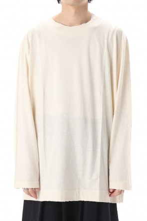 Yohji Yamamoto 20SS Old cotton Top stitch Cut off Round neck Long sleeve T-shirt Ivory