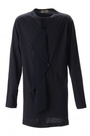 Yohji Yamamoto 20SS Jersey fabric mix Switching Dress shirt Navy