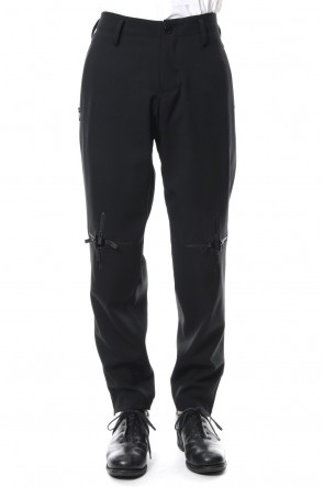 Yohji Yamamoto 18-19AW Knee Cross Fastener Slim Pants Straight Twill