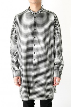 DIET BUTCHER SLIM SKIN 18SS Stand Collar Check Long Shirt