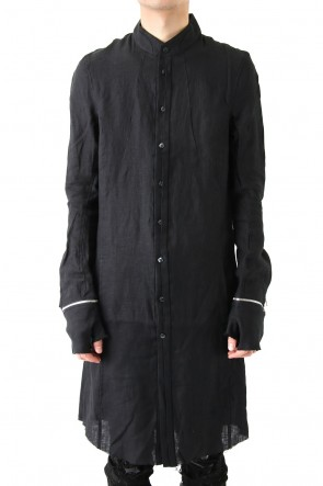 FAGASSENT18SSSoiled Black Linen Shirt With Half Shown Fly-front & Detachable Gloves