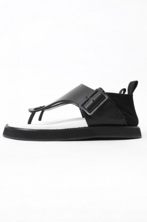 JULIUS 17SS 17SS Covered Heel Sandals BLACK × WHITE