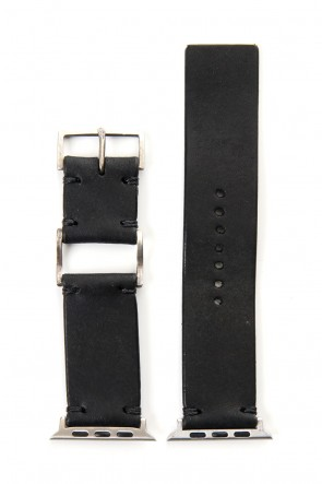 iolom Classic Apple Watch Band - Pueblo Leather Black  - Silver Type 1