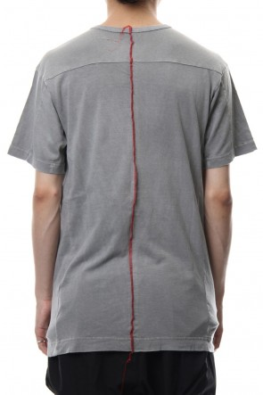 The Viridi-anne18-19AWProduct Dyeing Back Center Coloring Stitching Short Sleeve T L.Gray × Red