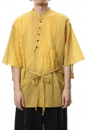 The Viridi-anne 19SS Striped product dyeing short-sleeved shirt Yellow