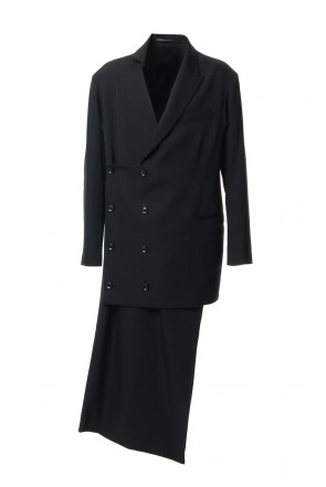 Yohji Yamamoto 18-19AW Left Front Double jacket Dress Wrinkled Gabardine