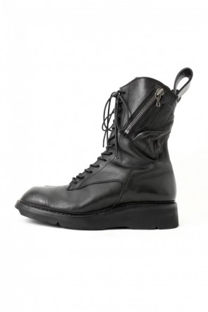 JULIUS 17SS 17SS Double Side Zip Military Boots SMOOTH