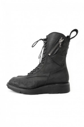 JULIUS 17SS 17SS Double Side Zip Military Boots NUBUCK