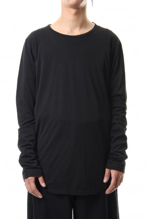 KAZUYUKI KUMAGAI 19-20AW 80/2 Tightness plain stitches crew neck L/S cut&sewn Black