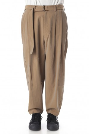 KAZUYUKI KUMAGAI20PF100/2 Gas boiling chambray belted Wide tapered pants D.Beige