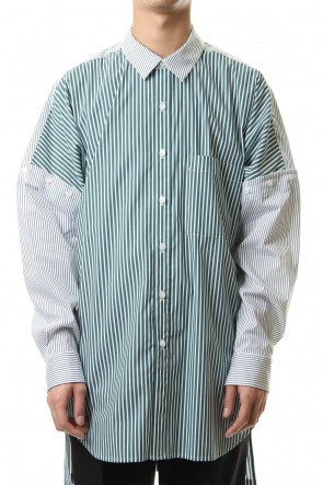KAZUYUKI KUMAGAI 20SS 50/1Stretch striped drop shoulder 2WAY Regular collar shirt L/S S.Green