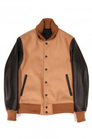 LITHIUM HOMME 15SS Super 100 Wool Lamb Leather Stadium Jumper