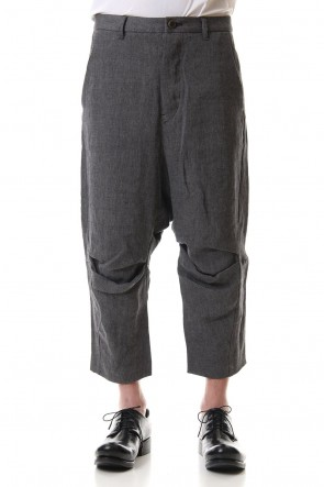 individual sentiments 20SS Linen Herringborne Bio Finish Cropped pants - PA71-LI13 Gray Black
