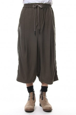 DEVOA 19SS Cropped Wide Pants Silk Herringbone Sand Blast Finish - Gray
