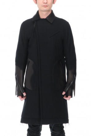 D.HYGEN21-22AWLeather Needle Punch Double Breasted Coat Black