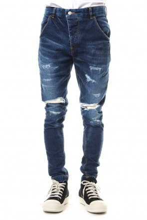 RIPVANWINKLE 19SS CRASH DENIM PANTS Indigo