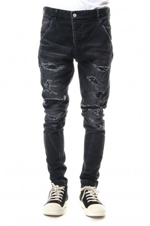 RIPVANWINKLE 19SS CRASH DENIM PANTS Black