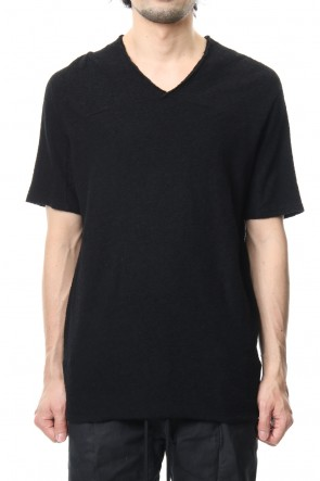 RIPVANWINKLE 19SS CROSS NECK T-SHIRT Black