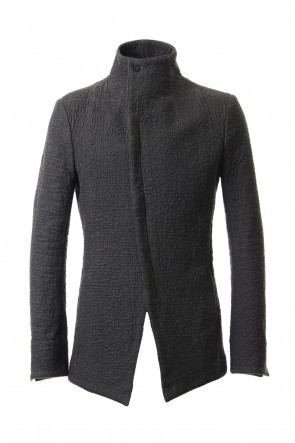 SADDAM TEISSY19-20AWHand dyed linen x Fleece needle punch High neck jacket Charcoal - ST104-0049A