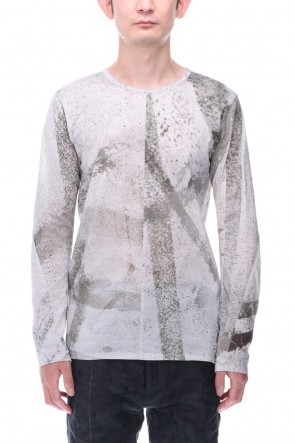 D.HYGEN 21SS 40 Jersey Stitch Print Long Sleeve T-Shirt Dusty White