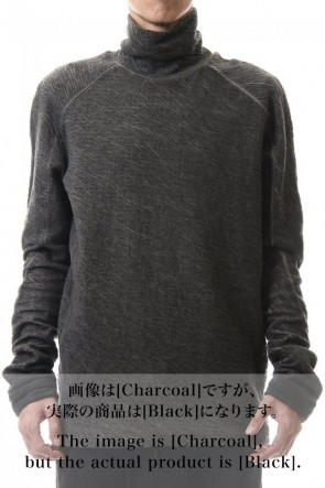 D.HYGEN 20-21AW Dual layered Cotton Wool jersey High neck Long sleeve T-shirt Black