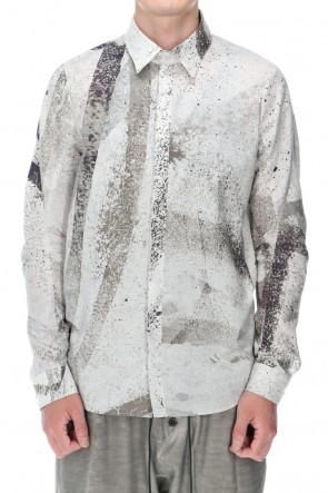 D.HYGEN 21SS 40/- Lawn Print Shirt Dusty White