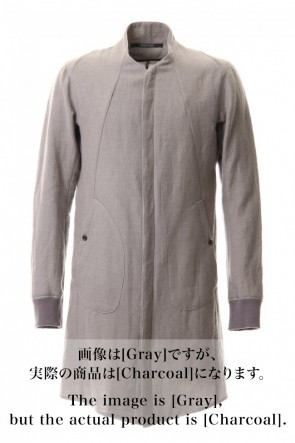 D.HYGEN 20-21AW Wool Linen Minimal High neck Long shirt Charcoal
