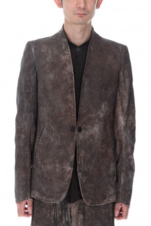 D.HYGEN22SSWood Tannin&Iron Oxide Dyed Dimple Dobby Tailored Jacket  Charcoal Mix