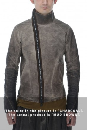 D.HYGEN22SSCold Dyed Horse Leather High Neck Jacket  Mud Brown
