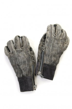 SADDAM TEISSY 19-20AW Horse Leather Destroy Dyed Over Lock Gloves - ST108-0049A
