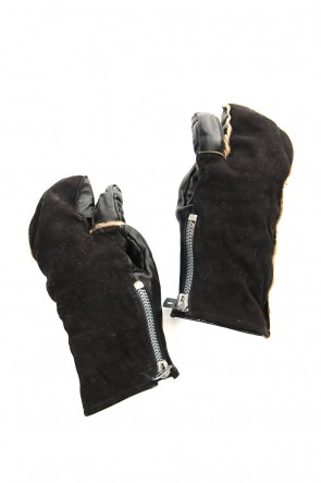 SADDAM TEISSY 19-20AW Horse × Kangaroo Leather Combination Mitten Gloves - ST108-0079A