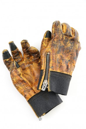 D.HYGEN20-21AWDusty leaf Horse leather Over lock gloves Yellow