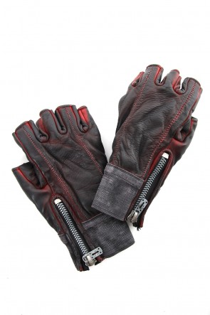 SADDAM TEISSY19SSHorse leather cold dyed finger-less glove Red - ST109-0019S
