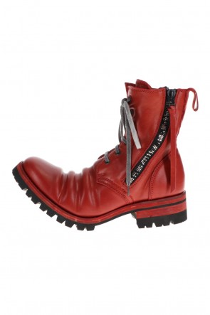 D.HYGEN21-22AWHorse Leather Lace-Up Combat Boots Red